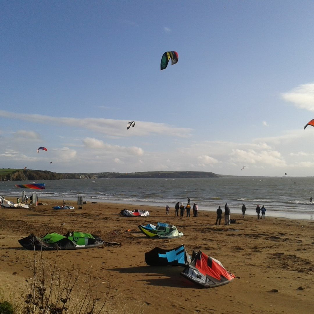 Kitesurfers on Duncannon Beach in Co. Wexford