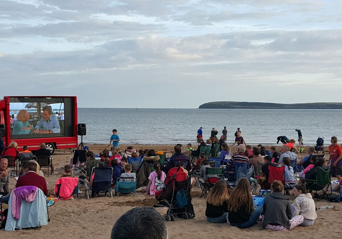 Outdoor movie on the beach, Duncannon Co. Wexford